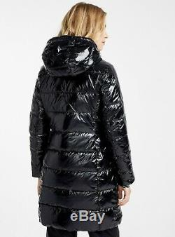 Michael Kors Women's Quilted Hooded Down Jacket Puffer Coat M Shiny Black