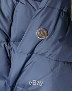 Michael Kors Womens XL Puffer Long Coat Down Navy Faux Fur Trim Hooded NWT