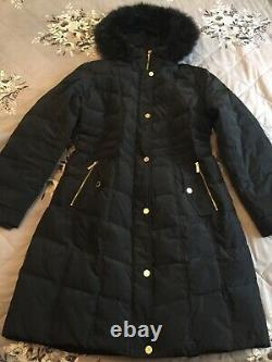 Michael Kors navy quilted long coat navy fur trim size L 14/16