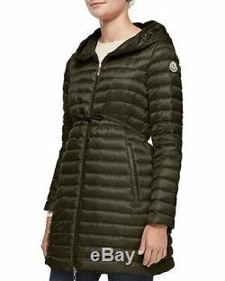 Moncler Barbel Long Coat Jacket Puffer $995 size 4 Olive NEW