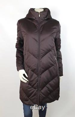 Moncler Burgundy Quilted Down Long Sleeve Hooded Zipper Midi Coat Size 2
