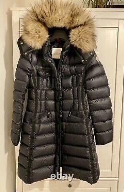 Moncler Hermifur Womens Down Long Coat Size 1 Excellent Condition Fur Hood