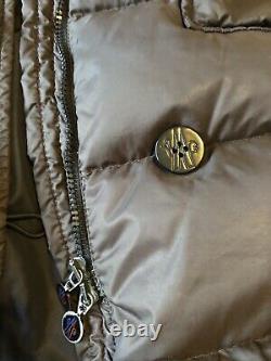 Moncler Long Down Coat Jacket Womens Size 10 Moncler 1 Fur Hood Genuine Belt