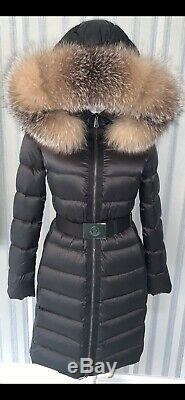 Moncler Tinuviel Black Coat, Long Parka, Hooded, Belted Size 0, 4-6-8 Uk, New