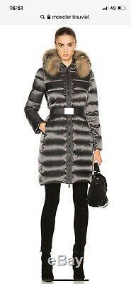 Moncler Tinuviel Black Coat, Long Parka, Hooded, Belted Size 0, 4-6 Uk, B New