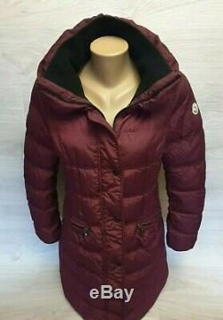 Moncler Vos Down Jacket Quilted puffer long coat purple bordo violet Women Sz 4