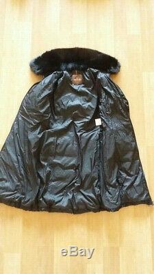 Moncler Women Black Down Puffer Jacket Long Coat With Fur Collar Size 2, S/M