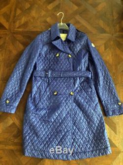 Moncler Women Trench Coat with belt Quilted Long Jacket 164 cm or 0 or XS