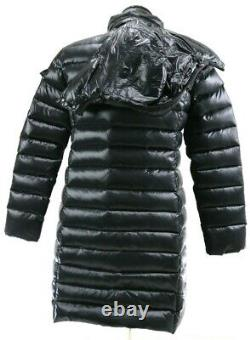 Moncler Women's Fitted Puffer Long Coat Hooded Size 3 US Medium Black