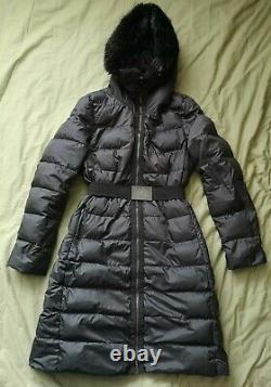 Moncler Women's Grey Genuine Beaver Fur Trim Long Down Puffer Coat Size 0 Used