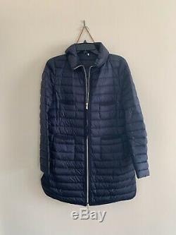 Moncler Womens Bogue 2 Medium S/M M Navy Blue Puffer Long Coat Jacket Authentic