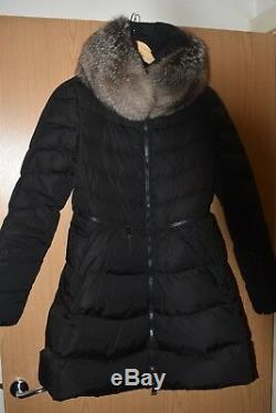 Moncler Womens Down Long Jacket Coat With Real Fox Fur Trim Size 1 Uk 8/10