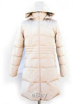 Moncler puffer long coat, down padding, hood, beige nylon, Moncler size 4 (L)