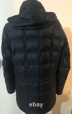Moncler womens long puffer down hooded blue coat size 2