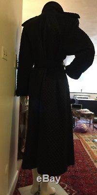 Mondi Coat Jacket BLACK QUILTED w Belt Size 38 VTG Long Stunning buttons