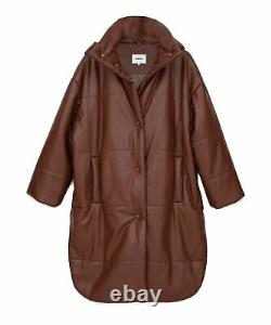 NANUSHKA Eska Root Beer Brown Vegan Leather Puffer Oversized Long Coat Jacket XS
