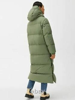 NEW ARKET Khaki Green Long Down Puffer Coat Size SMALL Water Repellent
