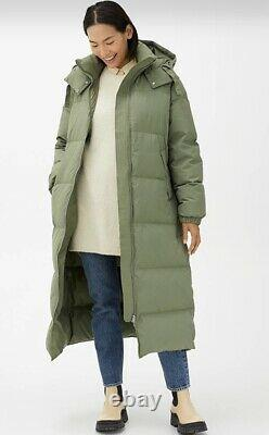 NEW ARKET Khaki Green Long Down Puffer Coat Size Small