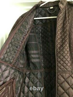 NEW Burberry Dark Purple/brown Quilted Long Jacket with Belt, SZ 8