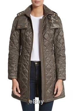 NEW Burberry Green Baughton Quilted Long Jacket with Belt Military GREEN XS Coat