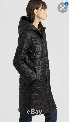 NEW EILEEN FISHER Hooded Lightweight Chevron Quilted Coat Jacket Black XL $378