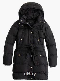 NEW JCrew Long Belted Puffer Jacket Coat XL Down Outerwear B5123 $298 Black