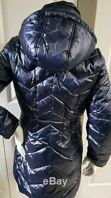 NEW MICHAEL KORS QUILTED PUFFER DOWN NAVY JACKET WithHOOD SIZE M