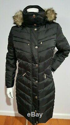 NEW MICHAEL KORS QUILTED PUFFER LONG BLACK DOWN COAT WithFAUX FUR TRIM HOOD SIZE S