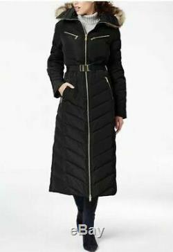 NEW Michael Kors Maxi Long Puffer Coat Hood Faux Fur Trim Down Black Petite XS