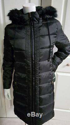 NEW RALPH LAUREN QUILTED & PUFFER BLACK DOWN LONG COAT WithHOOD FAUX FUR SIZE S