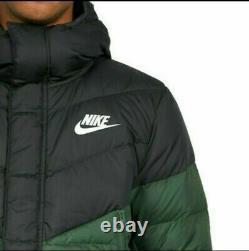NIKE NSW WR Premium Men's Down Fill Puffer Parka Jacket, Long Green Black Coat