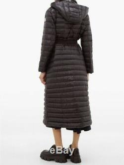 NWT Auth Moncler Chocolat Belted Long Coat Jacket, Size 2 (with receipt)