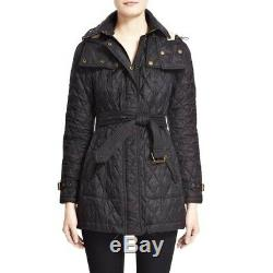 NWT Authentic Burberry Long Finsbridge Belted Quilted Removable Hood Jacket L