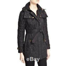 NWT Authentic Burberry Long Finsbridge Belted Quilted Removable Hood Jacket S