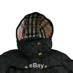 NWT Authentic Burberry Long Finsbridge Belted Quilted Removable Hood Jacket XS