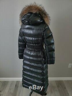 NWT Black MONCLER Hudson Long Puffer Coat Jacket Full Length Size 3, M/L