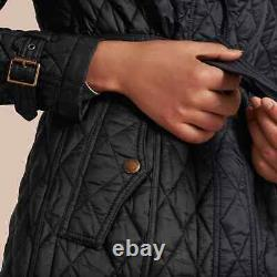 NWT Burberry Finsbridge Long Quilted Black Jacket XS 100% Authentic