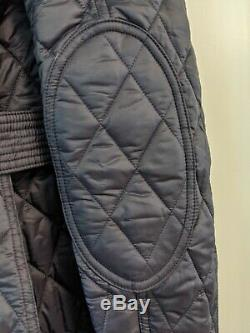 NWT Burberry Finsbridge Long Quilted Navy Ink Jacket M Authentic