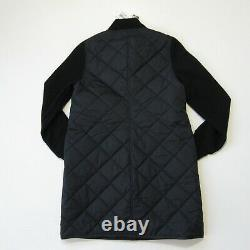 NWT Eileen Fisher Stand Collar Jacket Black Quilted Nylon Wool Sleeve Coat XS