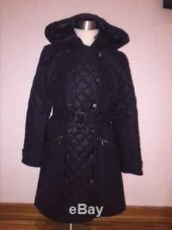 NWT Girls BURBERRY Black Long Quilted Coat Size 10 years