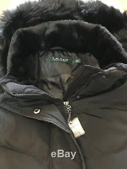 NWT LAUREN RALPH LAUREN Maxi Black Down Faux Fur Trim Hooded Long Coat Size XL