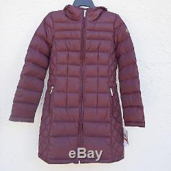 NWT MK Michael Kors Down Puffer Hooded Packable Long Coat Jacket Eggplant SZ XS