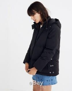 NWT Madewell Women True Black Quilted Puffer Parka Long Sleeves Coat Jacket (XS)