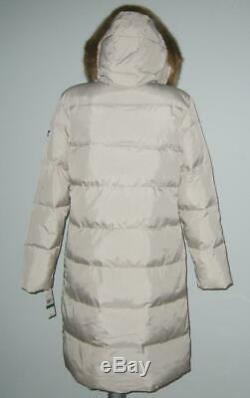 NWT Michael Kors DOWN Fill Faux FUR Long PUFFER Coat Women L Beige MSRP$240