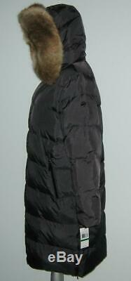 NWT Michael Kors DOWN Fill Faux FUR Long PUFFER Coat Women L Charcoal MSRP$240