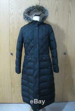 NWT NEW RALPH LAUREN Maxi Black Down Faux Fur Trim Hood Long Coat Womens M MED