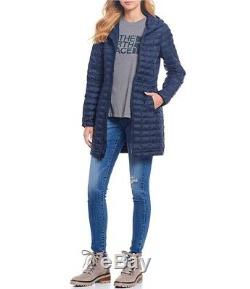 NWT The NORTH FACE Eco THERMOBALL Women's Hooded Long Jacket Parka URBAN NAVY L