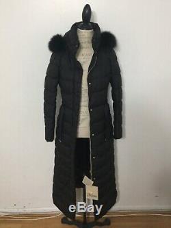 NWT Women's HERNO Fur-Trim Long Parka, Size 42 IT, Size 6 US, Small, Black