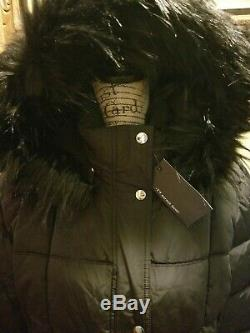 NWT Womens Tommy Hilfiger Long Maxi Quilted Puffer Coat Faux Fur Hood Black M