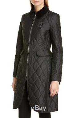 New Authentic Burberry Ongar Monogram Motif Long Quilted Coat Black